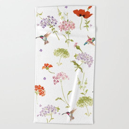 Hummingbird floral Beach Towel
