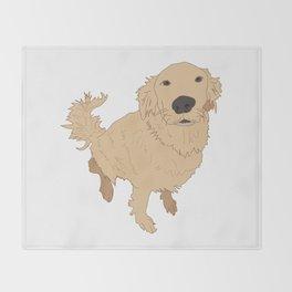 Golden Retriever Illustration on a White Background Throw Blanket