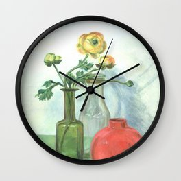 Still life with Buttercup and glass bottles Wall Clock