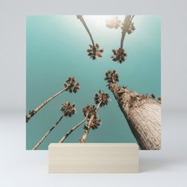 {1 of 2} Palm Trees = Happy // Teal Summer Sky Mini Art Print