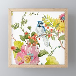 Bluejay Bird Day Floral Framed Mini Art Print