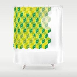 Green Isometric Pattern Shower Curtain