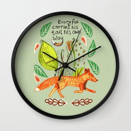 Every Fox...fox, sayings, typography, quote, nature, leaves Wall Clock