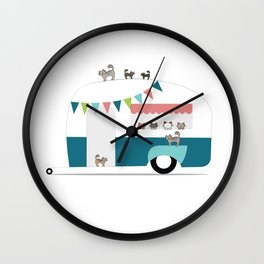 Happy Camper Kitties Wall Clock