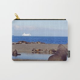 Fur seals with iceberg in the distance Carry-All Pouch