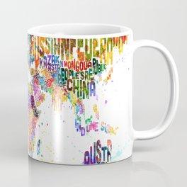 Paint Splashes Typography Text World Map Coffee Mug