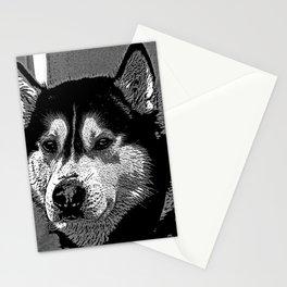 Husky Dog Art In Monochrome Stationery Cards