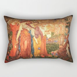 The Mirror of Time, Age, & Youth renaissance portrait painting tapestry No.1 by Noël Laura Nisbet Rectangular Pillow