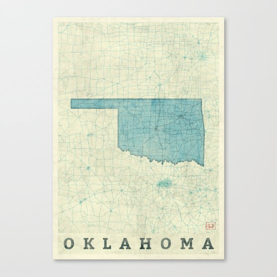 Oklahoma State Map Blue Vintage Canvas Print