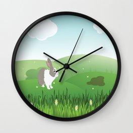 Dutch rabbit in field Wall Clock