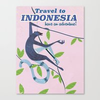indonesia Canvas Prints featuring Indonesia vintage travel poster by Nick's Emporium