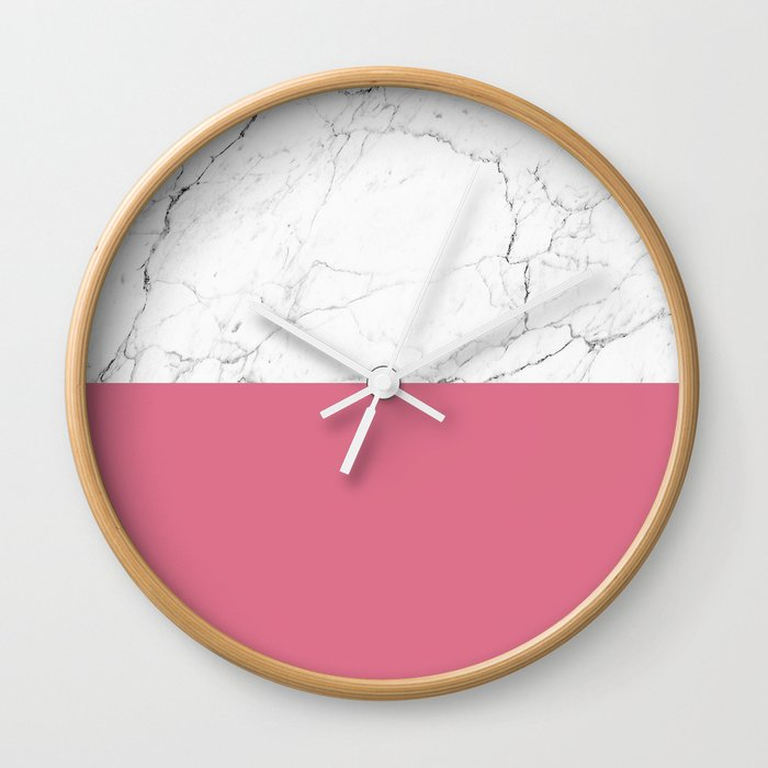 rose pink and white marble Wall Clock
