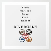 divergent Art Prints featuring DIVERGENT - ALL FACTIONS by MarcoMellark