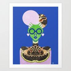 Moth Cheongsam Art Print