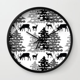 Woodland Rustic Deer Winter Mountain Forest Trees Wall Clock