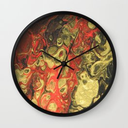 Golden Pools, pouring abstract acrylic Wall Clock