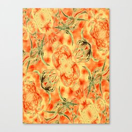 Yellow and Orange Floral Pattern Canvas Print