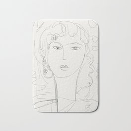 Sketch of a pop girl Bath Mat