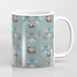 Vintage Blue with Antique Pink Roses Design Coffee Mug