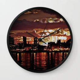 Angry Sunset. Wall Clock