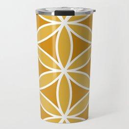 Flower of Life Large Ptn Oranges & White Travel Mug