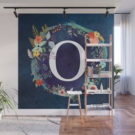 Personalized Monogram Initial Letter O Floral Wreath Artwork Wall Mural