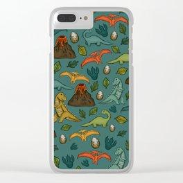 Dinosaurs, Jurassic Art, Volcanos and T-Rex, Dino Print, Dark Blue Clear iPhone Case