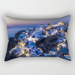 Santorini Island NightView Greece Rectangular Pillow