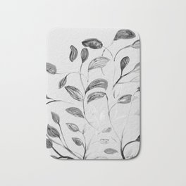 Red and Green Leaves! Romantic Silver Grey! Bath Mat