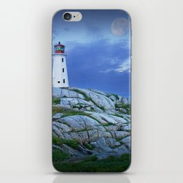 Lighthouse at Peggy's Cove in the Moonlight iPhone Skin