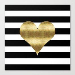 gold heart black and white stripe Canvas Print