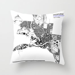 MELBOURNE BLACK & WHITE MAP Throw Pillow