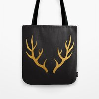 antler Tote Bags featuring ANTLER by crisunplugged