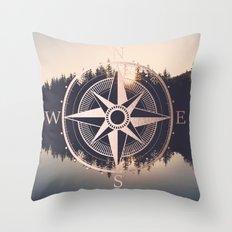 Rose Gold Compass Forest Throw Pillow