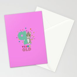 Nine Years 9th Birthday Party Cat T-Shirt Dsfzu Stationery Cards