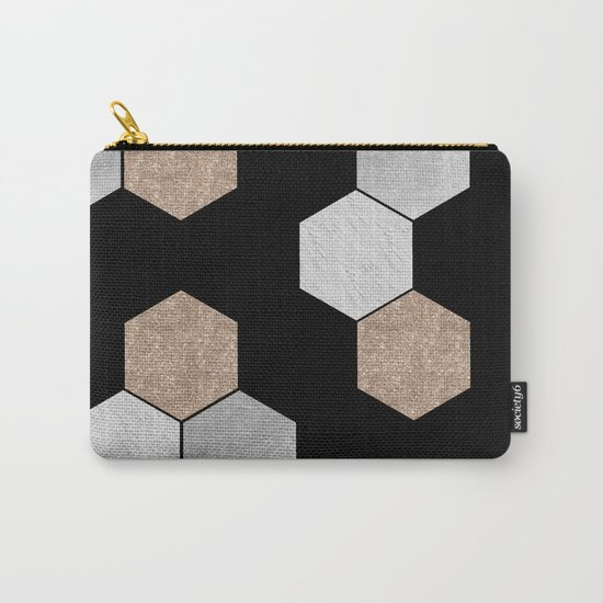 Geometric marble and rose gold on black Carry-All Pouch