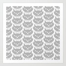 Mid Century Modern Cat Grey Art Print