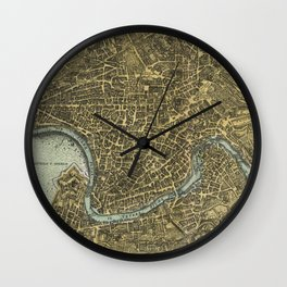 Vintage Map of Rome Italy (1716) Wall Clock