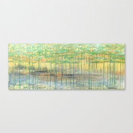 Golden & Grounded mixed media abstract landscape Canvas Print