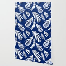 Woodland Fern Pattern, Cobalt Blue and White Wallpaper