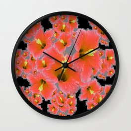 BLACK-GREY CORAL COLOR HIBISCUS ART Wall Clock
