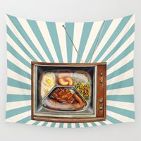 tv Wall Tapestries featuring TV Dinner by Kelly Gilleran
