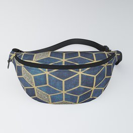 Shades Of Blue Cubes Pattern Fanny Pack