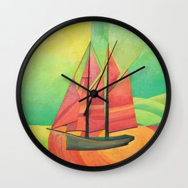 Cubist Abstract Sailing Boat Wall Clock