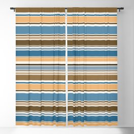 Wedgewood, Brown and Saffron Horizontal Stripes Blackout Curtain
