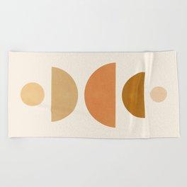 Abstraction_Geometric_Shape_Moon_Sun_Minimalism_001D Beach Towel