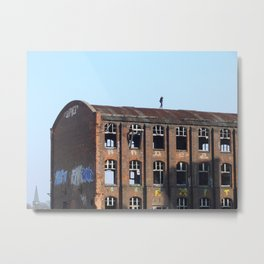 Girl on the Roof - Lost Places Metal Print