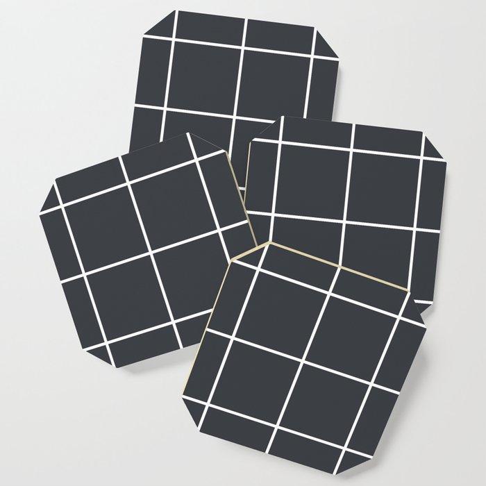 Minimal grid pattern on dark lava Coaster
