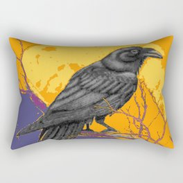 GOLD-PUCE SURREAL CROW FULL MOON IN TREES Rectangular Pillow