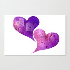 Purple and Pink hearts Canvas Print